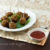 Pumpkin Meatless Meatballs with a Cranberry Sauce