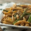 Penne with Asparagus and Portabella in a Creamy Vegan Tomato Sauce