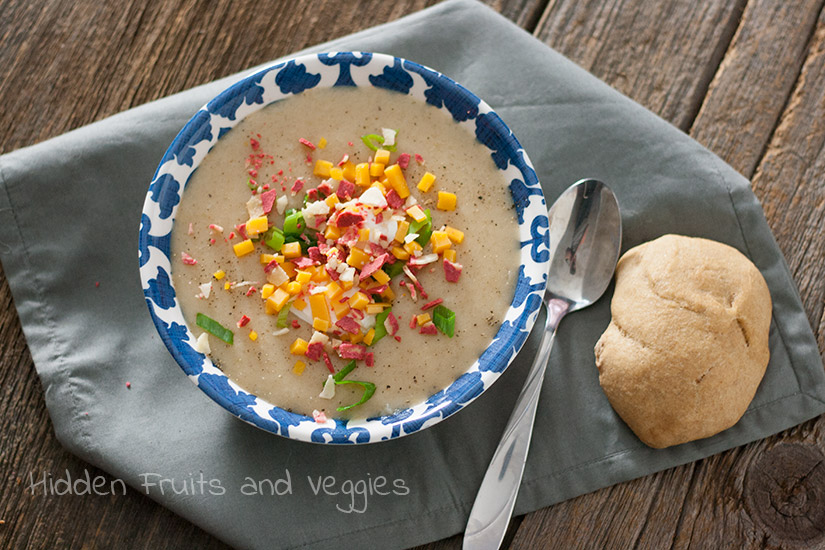 Slow Cooker Baked Potato Soup @hiddenfruitnveg