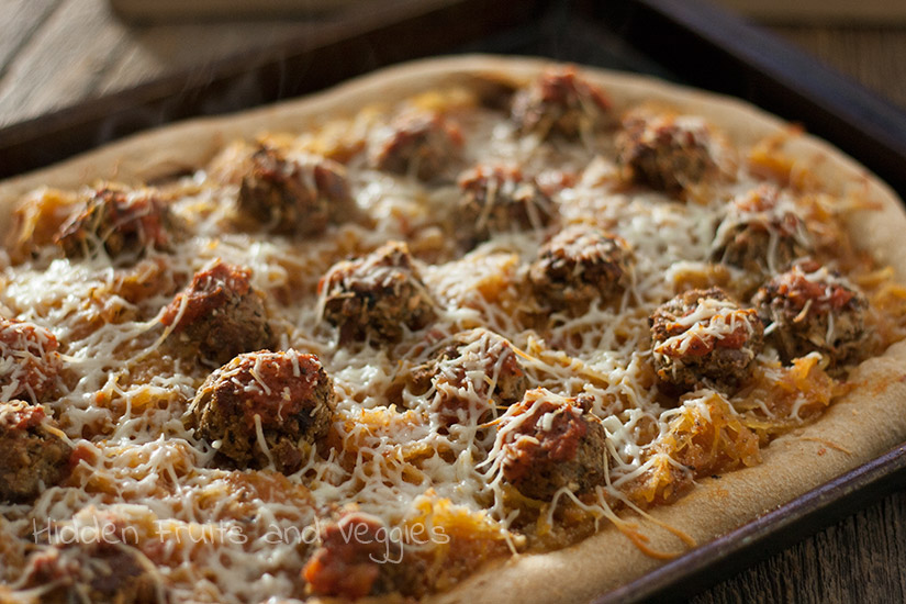 Spaghetti Squash and Meatball Pizza @hiddenfruitnveg